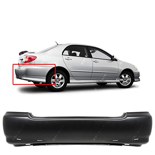 (MBI AUTO - Primered, Rear Bumper Cover Replacement for 2003-2008 Toyota Corolla S 03-08, TO1100209)