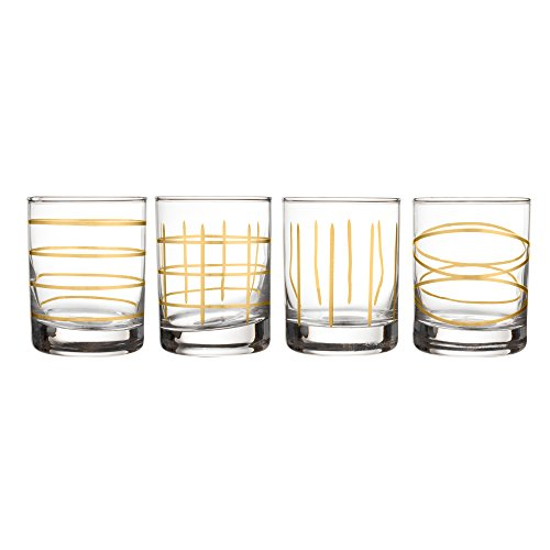 """Fifth Avenue Crystal 229311-4OF Weston Etched Old Fashion Glasses (Set of 4), 3"""" x 3"""", Gold"""