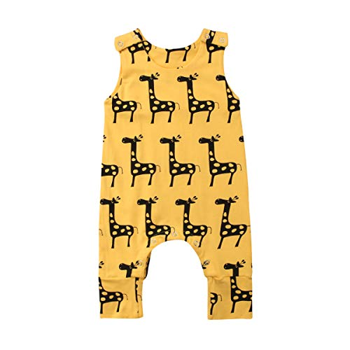 Newborn Baby boy Girl Romper Jumpsuit Sleeveless Animal Cartoon Print Bodysuit Overalls Outfits Clothes (Yellow-Giraffe,6-12 Months)