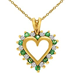 "0.25 Carat (ctw) 14k Gold Round Green Emerald and Diamond Alternating Heart Shape Pendant with 18"" Chain Necklace (1.8 x 1.8 MM)"