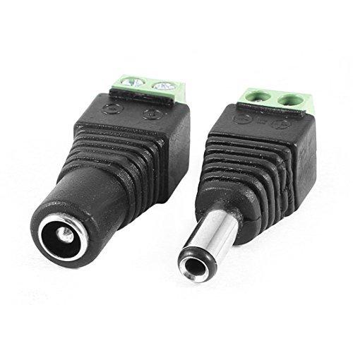 DealMux 2 Pcs CCTV Security Camera DC Power Jack Adapter Connector M/F 5.5mm x2.5mm