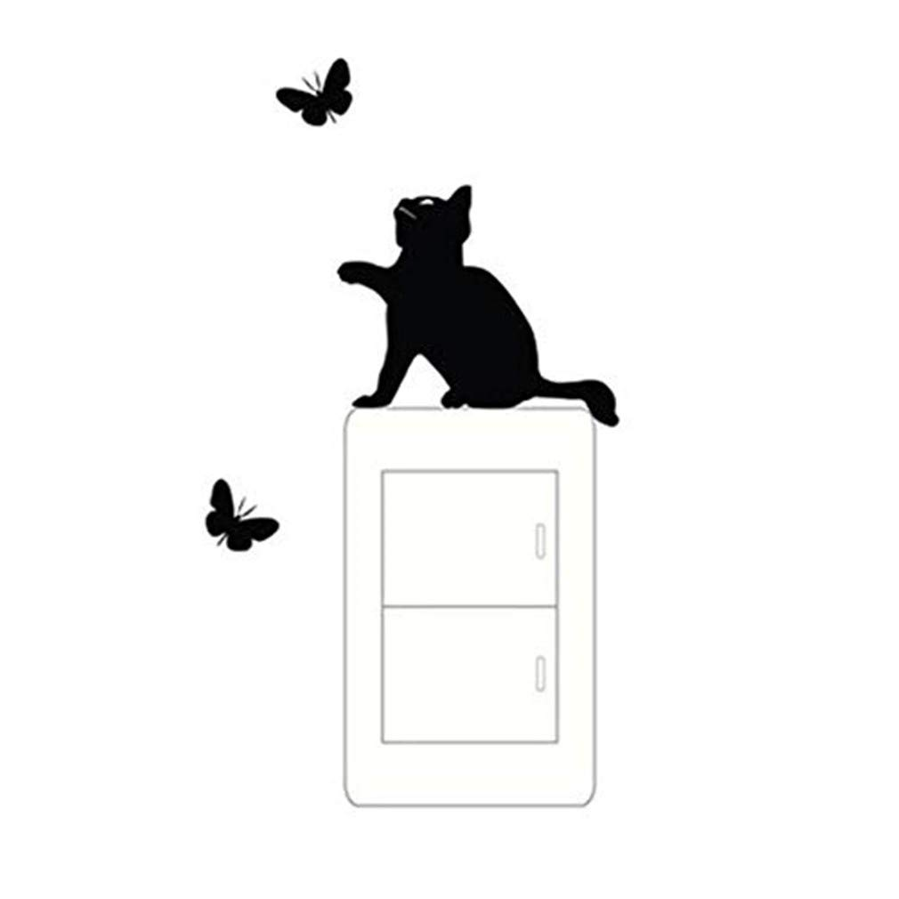Cat Butterfly Clings Room Switch Decorating Window Wall Switch Vinyl Decal Sticker Decor Cartoon (Black, 145110mm)
