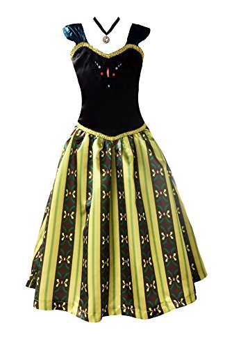 [American Vogue Princess FROZEN ANNA Elsa CORONATION Dress Costume (11-12 Years & Necklace, Olive)] (Frozen Costumes Women)