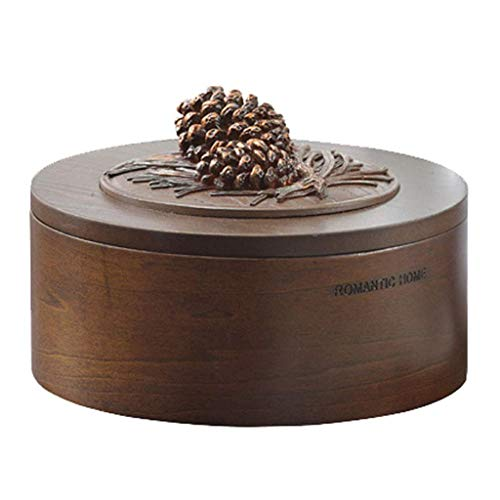 Giow Wooden Jewelry Box Round Hand-Carved Pine Cone Creative Desktop Auspicious Ornaments6.1 L X6.1 W X4.1 H