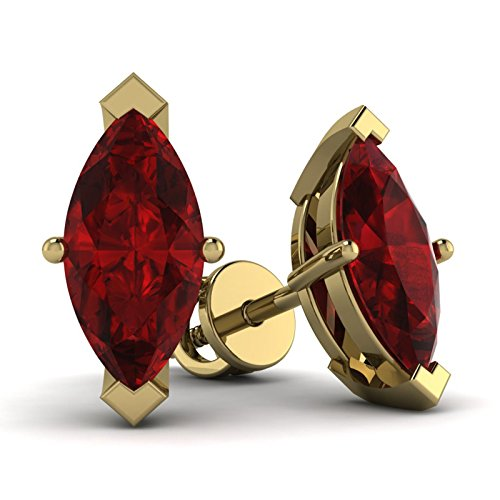 10K Yellow Gold Marquise Shape Red Ruby Solitaire Stud Earrings For Women (2.00 Ct)