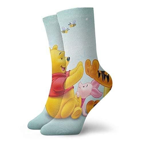 JINUNNU Mens Crew Socks Tigger Piglet and Winnie The Pooh Painting Compression Socks White Cushion Hiking Socks