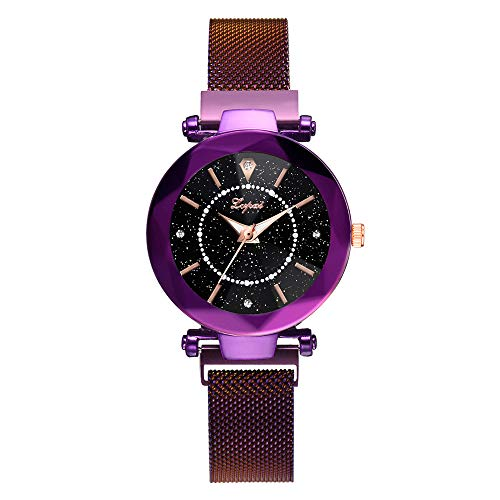 Quartz Watches for Women, Fashion Lady Wrist Watch Creative Starlight Dial Birthday Gift with Faux Leather Band Bracelet (Purple, One - Square Kitty Hello Watch