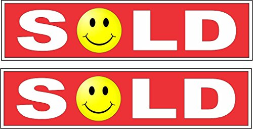 (2-6x24 Sold Smiley Face Real Estate Rider Signs Red)