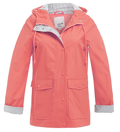 SS7 New Womens Rain Mac Waterproof Raincoat Ladies Jacket Size 8 10 12 14 16 18 Salmon Salmon