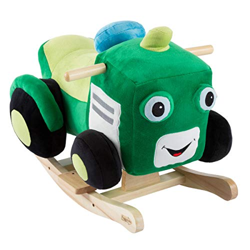 Happy Trails Tractor Rocker Toy-Kids Ride On Soft Fabric Covered Wooden Rocking Plush-Neutral Design for Any Nursery-Fun for Toddler Boys and Girls