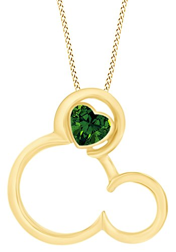AFFY Simulated Emerald Mickey Mouse Pendant Necklace in 14k Yellow Gold Over Sterling Silver ()
