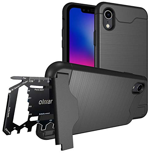 Olixar iPhone XR Tough Case with Multi Tool Card - 26 in 1 Survival Card - Kickstand + Secure Credit Card Slot - X-Ranger - Tactical Black (Case Iphone Tool Multi)