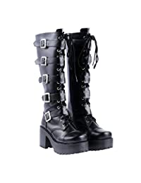 Lorie & Knight Japanese Harajuku Women Black Leather Buckle Straps Lace up Gothic Punk Cosplay Platform High Boots