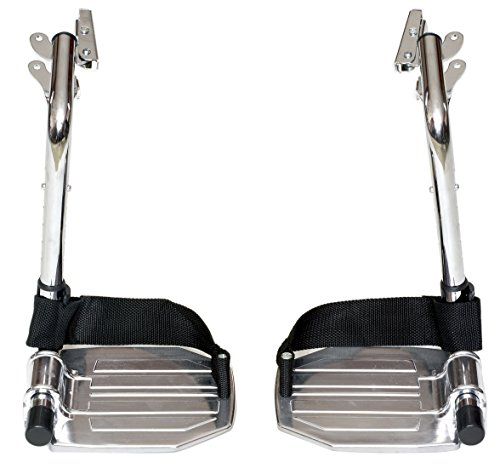 Heavy Duty CHROME Wheelchair Footrests with ALUMINUM Footplates & Heel Loops (Pair), 1-3/8