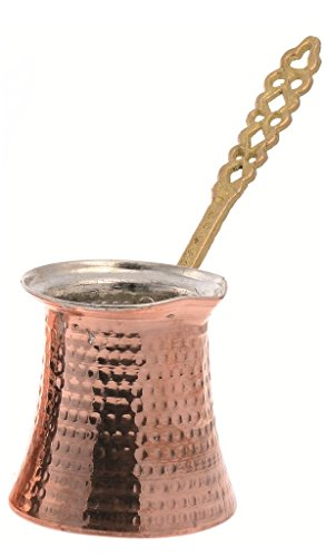 Premier Thickest Handmade Hammered Solid Copper Turkish Greek Arabic Coffee pot Brass Handle Thick 1,5 mm (Size5)
