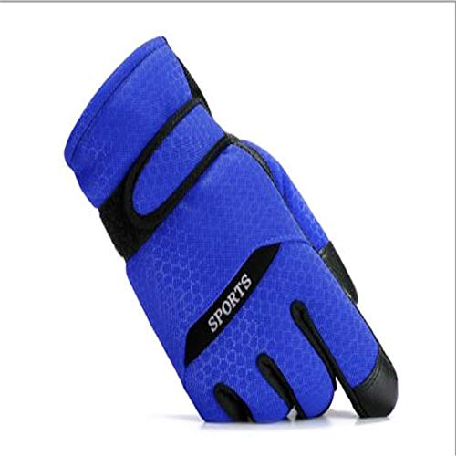 Woisha Cotton Gloves Men Winter Cycling Warm Thickening Plus Velvet Windproof Cold Non-Slip Motorcycle Men Ski Gloves Blue