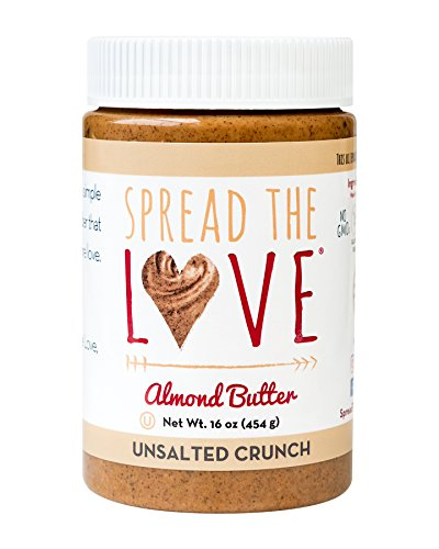 Spread The Love UNSALTED CRUNCH Almond Butter, 16 Ounce, All Natural, Vegan, Gluten Free, Creamy, No Added Salt or Sugar, No Palm Fruit Oil, Not Pasteurized with PPO, Made in California by Spread The Love