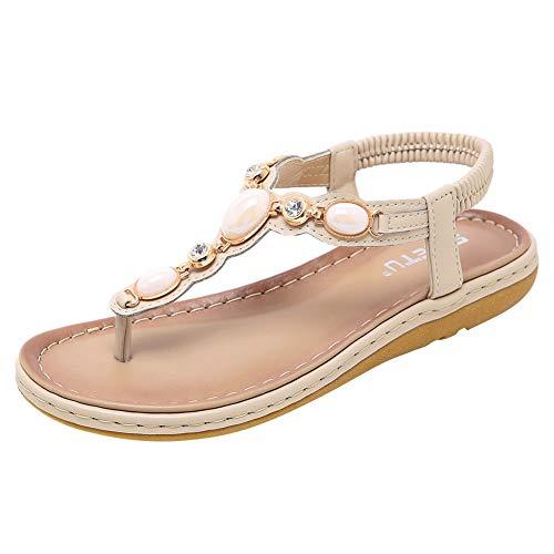 Wollanlily Women's Flat Sandals Bohemia T-Strap Summer Beach Comfort Flip Flops Walking Shoes Apricot US 6 ()