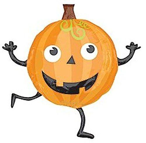 "Custom, Fun & Cool {XL Huge Giant Size 28"" Inch} 1 Unit of Helium & Air Inflatable Mylar Foil Balloon w Happy Dancing Jack O Lantern Halloween Pumpkin Design [in Orange, Black, White & (Pumpkin Mylar Balloon Foil)"