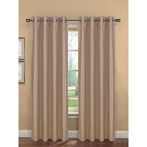 Bella Luna Bliss Faux Silk Room Darkening 76 x 84 in. Grommet Curtain Panel Pair, Taupe