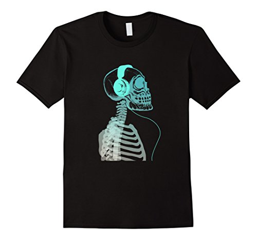 Mens Skeleton Listening To Music With Headphones On His S...