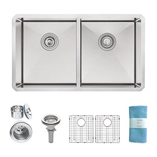 Zuhne 32 Inch Undermount 50/50 Deep Double Bowl 16 Gauge Stainless Steel Modern Kitchen Sink…