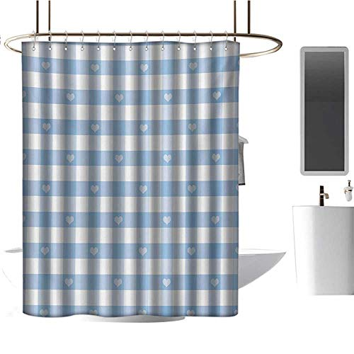 (Qenuan Shower Curtain Liner Checkered,Gingham Motif with Cute Little Hearts Pastel Blue Baby Shower Kids Theme,Pale Blue White,Waterproof Washable Bathroom Curtain 36