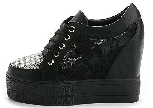 Adult Womens Hidden Heel Wedges Lace up Casual Fashion Sneakers Black-3 YINDTZ0C