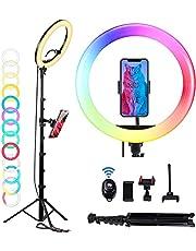 12 inch LED Ring Light, OMMO Dimbare Selfie Ring Licht met Statief Stand & Telefoon Houders, 3200-6500K/9 Kleuren/10 Helderheid/USB Aangedreven, Verlicht uw Schoonheid voor Foto Video Make-up Tiktok Steam YouTube