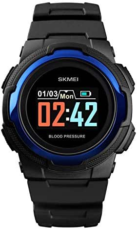 Bluetooth Sports Smart Watch Men's Heart Rate Blood Pressure APP Call Reminds Remote Camera Waterproof Female Digital Watch (Black Blue)