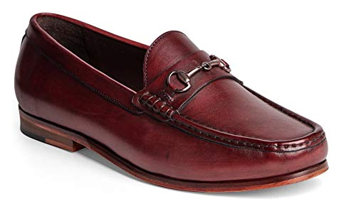 Anthony Veer Men's FILMORE Classic Bit Loafers Leather Slip-on Luxury Comfort (9.5 D(M) US, Oxblood Full Grain Calfskin Leather)
