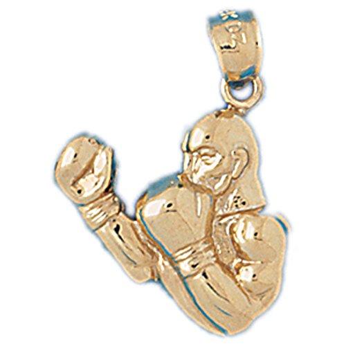 14K Yellow Gold Boxer Pendant Necklace - 24 (14k Yellow Gold Boxer)