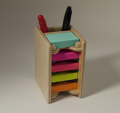 Mini Sticky Notepad (Colored Mini Sticky Notes Pad and Pen Holder / Organizer (includes five 1.5