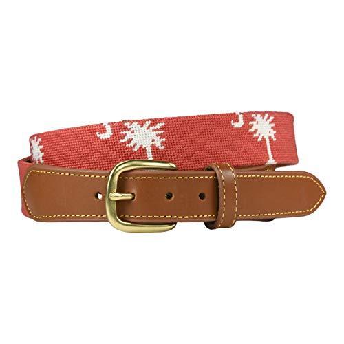 Coral Needlepoint - Charleston Belt Carolina Crescent Palmetto Coral Needlepoint Tan Leather (40)