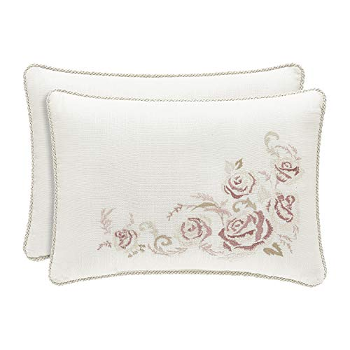 Royal Court Eleanor Embroidered Floral Boudoir Throw Pillow, Cream