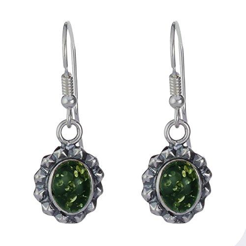 Green Baltic Amber Sterling Earrings - 8