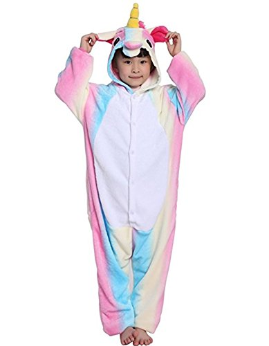 Halloween Cosplay Costume Unicorn Onesie Pajamas OnePiece Animal Outfit Homewear, Rainbow-2, Size120 for 45-49