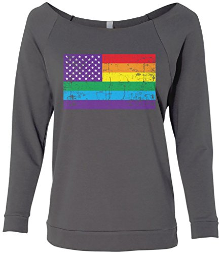 Raglan Gay Rainbow Flag - Threadrock Women's Gay Pride Rainbow American Flag #2 Raw-Edge Raglan Shirt S Charcoal