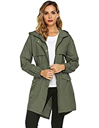 ba8dbd89f Womens Rain Coat Lightweight Hooded Long Raincoat Outdoor Breathable Rain  Jackets