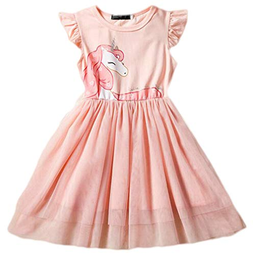 (Toddler Girls Sequin Mesh Tulle Dress Unicorn Sleeveless Cotton Princess Dresses Party Colorful Lace)
