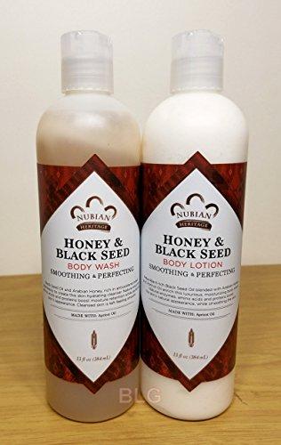 Honey Black Seed Lotion Body Wash Set.. by Nubian 13oz each 2 Bottles … iwgl by Trifing