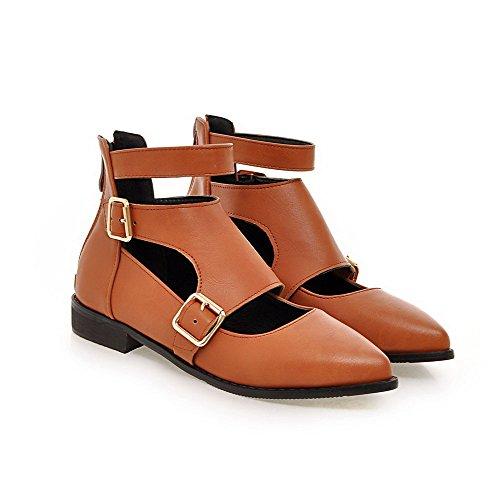AllhqFashion Womens PU Solid Zipper Pointed Closed Toe Low Heels Pumps-Shoes Yellow 7INpwZUt