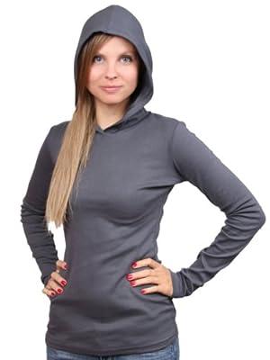 YogaColors Women's Baby Rib Emoticon Long Sleeve Hoodie T-shirt 4398