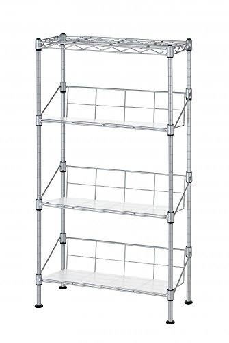 Silver Finish Metal Dvd Tower (New Silver 4-Tier Media Rack CD Rack Stand Racks Organizer Storage Rack)