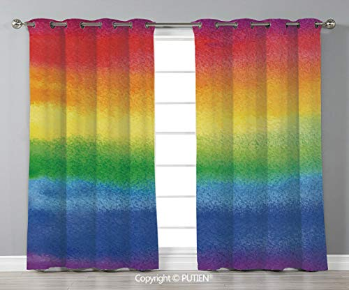 Grommet Blackout Window Curtains Drapes [ Rainbow,Work of Art with Vivid Colors with Rainbow Tones Abstract Lines Painted with Brush,Multicolor ] for Living Room Bedroom Dorm Room Classroom Kitchen Ca