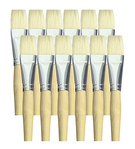 - School Smart White Bristle Short Handle Paint Brush, 1 inch, Pack of 12