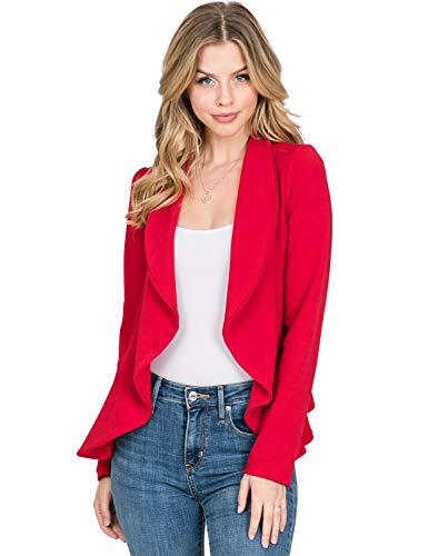 - CLOVERY Women's Long Sleeve Casual Work Knit Office Blazer Jacket, RED 3X Plus Size