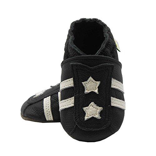 Sayoyo étoiles chaussures cuir premières chaussures bébé(18-24 mois, Noir)