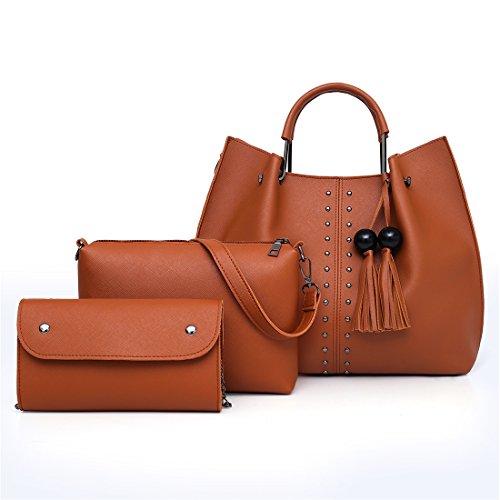 For Set Tote Leather Pcs Pu Women Hobo Handbag Satchel Purse With Rivet Zipper PERHAPS Tassel Shoulder Brown U Sets 3 Bag FwvaFIgx