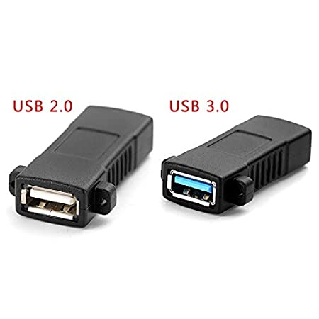 Cable Length: 2 Computer Cables 1Pc Standard USB 2.0 3.0 Female to Female Socket Panel Mount Adapter Connector Plastic+Metal NoEnName/_Null